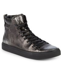 John Varvatos - Reed Leather Mid-top Sneakers - Lyst