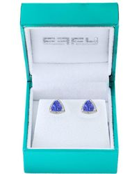 Effy - 14k White Gold, Diamond And Tanzanite Stud Earrings - Lyst