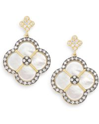 Freida Rothman - Mother-of-pearl & 14k Yellow Gold Vermeil Clover Drop Earrings - Lyst