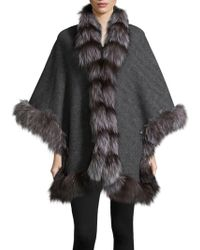 Belle Fare - Natural Fox Fur Herringbone Cape - Lyst