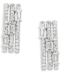 KC Designs - 14k White Gold & Diamond Mosaic Earrings - Lyst