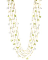 Saks Fifth Avenue - Mixed Gemstone Goldplated Station Necklace - Lyst