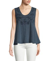 Max Studio - Embroidered Cotton Tank Top - Lyst