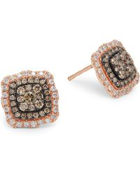 Effy - 14k Rose Gold, White Diamond & Champagne Diamond Stud Earrings - Lyst