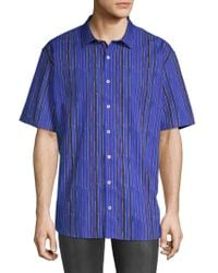 Bugatchi - Striped Short-sleeve Cotton Button-down Shirt - Lyst