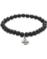 Bavna - Black Onyx Bead & Pavé Diamond Bracelet - Lyst
