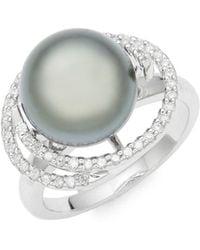 Effy - 14k White Gold, 9mm Tahitian Pearl & Diamond Ring - Lyst