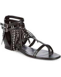 Saint Laurent - Studded Leather Sandals - Lyst