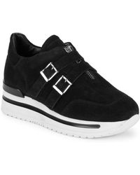 John Galliano - Double Buckle Leather Trainers - Lyst