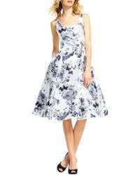 Adrianna Papell - Mikado Tea Length Floral Dress - Lyst