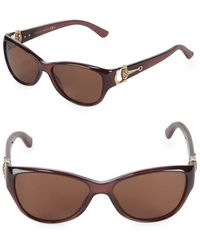 54e132e7e98 Lyst - Gucci Havana 53mm Cat Eye Sunglasses in Brown