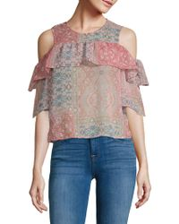 BCBGMAXAZRIA - Printed Cold-shoulder Top - Lyst