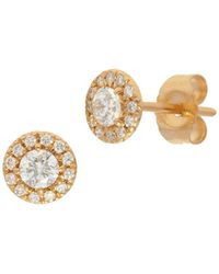 Nephora - 14k Yellow Gold And Diamonds Circle Studs - Lyst