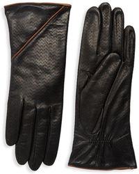 Portolano - Textured Leather Gloves - Lyst