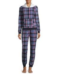 Jane And Bleecker - Plaid Hoodie Pajamas - Lyst