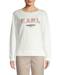 Karl Lagerfeld - Embellished Logo Sweatshirt - Lyst