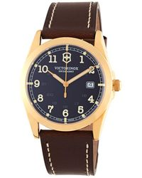 Victorinox - Infantry Goldtone & Leather Watch - Lyst