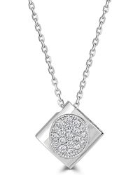 Saks Fifth Avenue - Diamond And 14k White Gold Square Pendant Necklace - Lyst