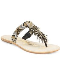 d00c95a52c727c Lyst - Sam Edelman Anella Leather Beaded Flat Thong Sandal in Natural