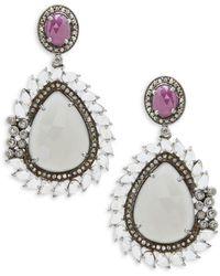 Bavna Rainbow Moonstone, Tourmaline & Diamond Double-Drop Earrings