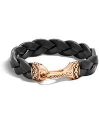 John Hardy - Classic Chain Braided Leather Hook Bracelet - Lyst