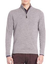 Saks Fifth Avenue - Wool-blend Half-zip Sweater - Lyst