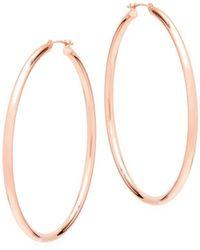 """Saks Fifth Avenue - 14k Rose Gold Hoop Earrings/2"""" - Lyst"""