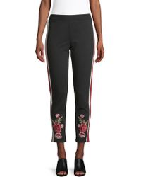 Lea & Viola - Embroidered Track Trousers - Lyst