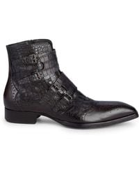 Jo Ghost - Textured Leather Wingtip Buckle Boots - Lyst