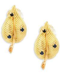 Estate Fine Jewelry - Oakgem Vintage 18k Gold & Sapphire Leaf Clip-on Earrings - Lyst