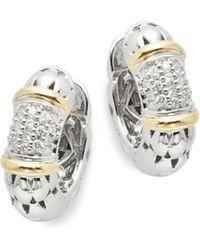 """Effy - Diamond, 18k Yellow Gold, Silver Hoop Earrings- 0.7"""" - Lyst"""