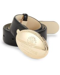 Roberto Cavalli - Engraved Buckle Leather Belt - Lyst