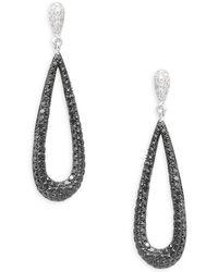 Effy - 14k White Gold Diamond Pear Hoop Earrings - Lyst