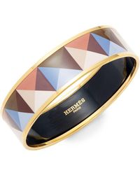 Hermès - Vintage Geometric Enamel Bangle - Lyst