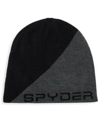 f913d027ce1 Spyder Diagonal Colorblock Logo Beanie in Gray for Men - Lyst