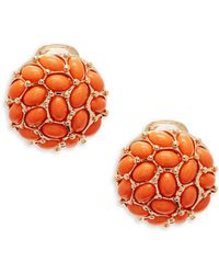 Kenneth Jay Lane - Coral Clip-on Button Earrings - Lyst