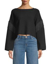 Lea & Viola - Fringed-trimmed Cropped Sweater - Lyst