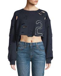 Lea & Viola - Distressed Cotton Sweatshirt - Lyst