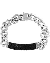 Effy - Sterling Silver And Ruthenium Cuban Chain Bracelet - Lyst
