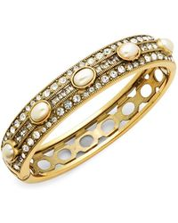 Heidi Daus - Faux Pearl And Swarovski Crystal Oval Bangle Bracelet - Lyst