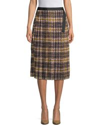 Ellen Tracy - Pleated Plaid Skirt - Lyst
