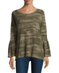 Current/Elliott - Bell Sleeve Camo Top - Lyst