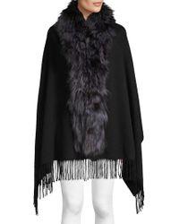 Belle Fare Dyed Fox Fur Trim Cashmere Wool Shawl