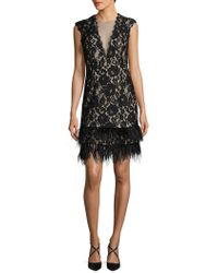 Adrianna Papell - Fringe Hem Shift Dress - Lyst