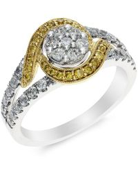 Effy | Yellow And White Diamond 14k White And Yellow Gold Ring, 0.74 Tcw | Lyst
