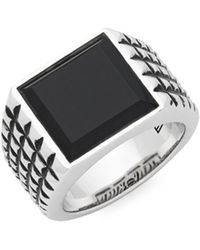 Effy - Black Onyx And Sterling Silver Square Ring - Lyst