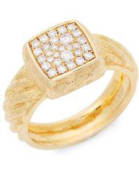 Effy - 14k Gold & Diamond Square Ring - Lyst