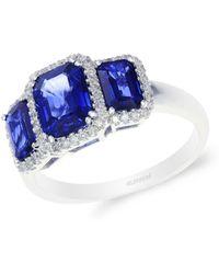 Effy - 14k White Gold Sapphire And Diamond Ring - Lyst