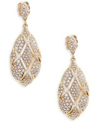 Adriana Orsini - Goldtone Crystal Oval Drop Earrings - Lyst