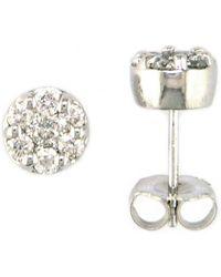 Effy - 14 Kt. White Gold Diamond Pave Stud Earrings - Lyst
